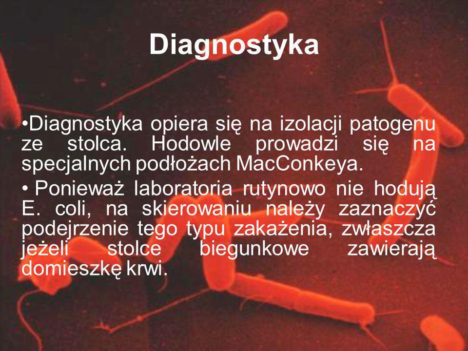 Diagnostyka Diagnostyka opiera się na izolacji patogenu ze stolca. Hodowle prowadzi się na specjalnych podłożach MacConkeya.