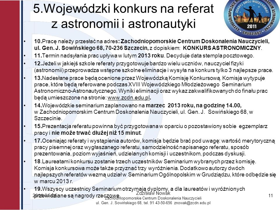 5.Wojewódzki konkurs na referat z astronomii i astronautyki