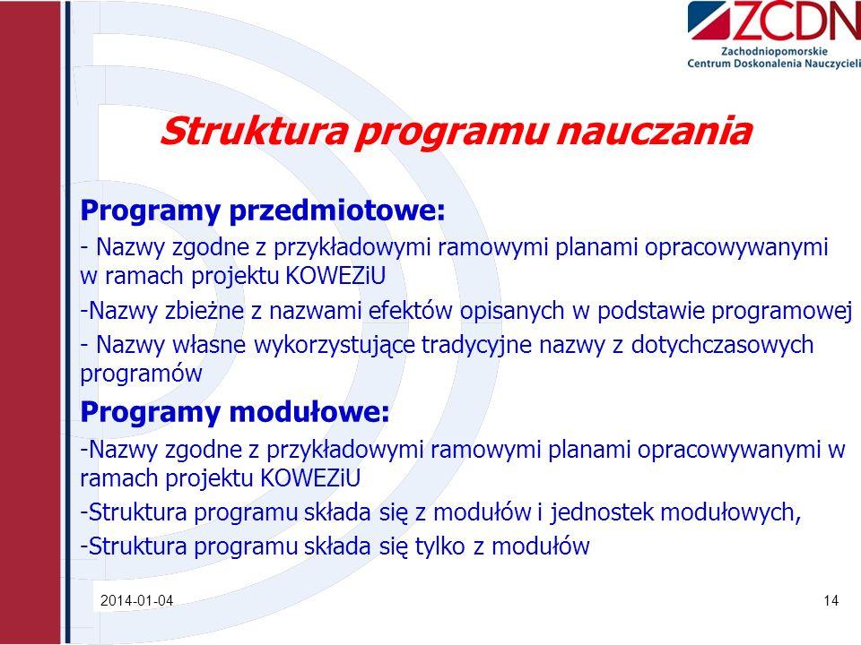 Struktura programu nauczania