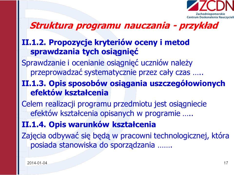 Struktura programu nauczania - przykład