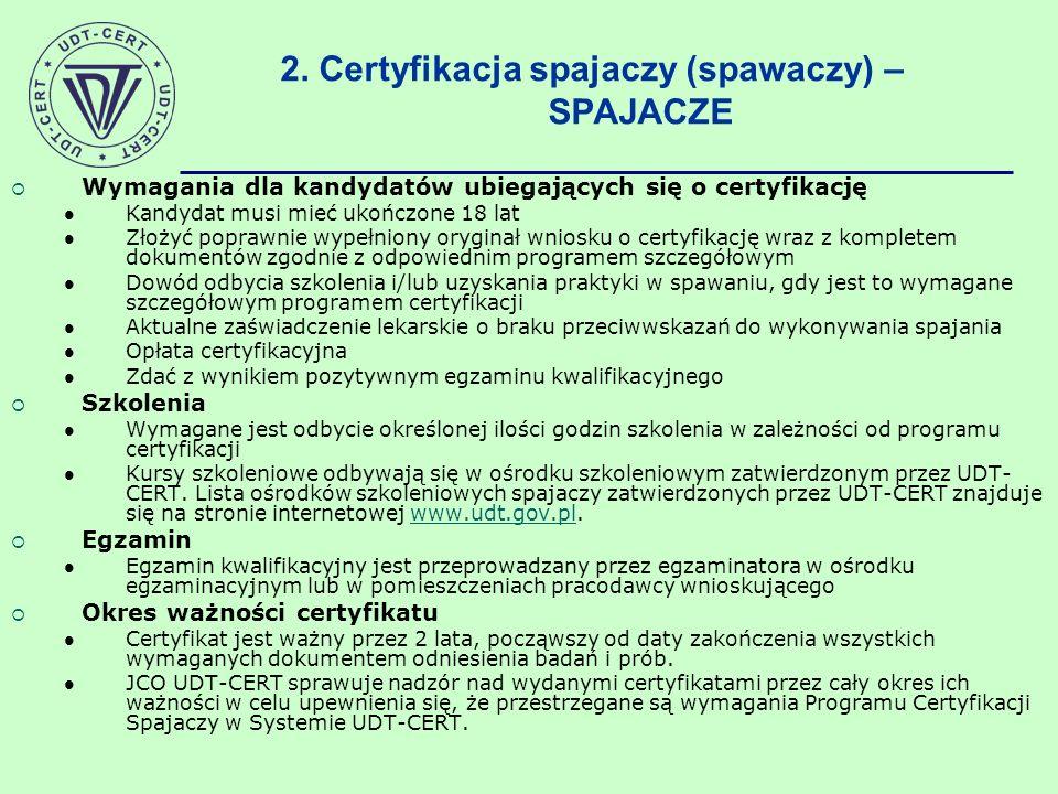 2. Certyfikacja spajaczy (spawaczy) – SPAJACZE