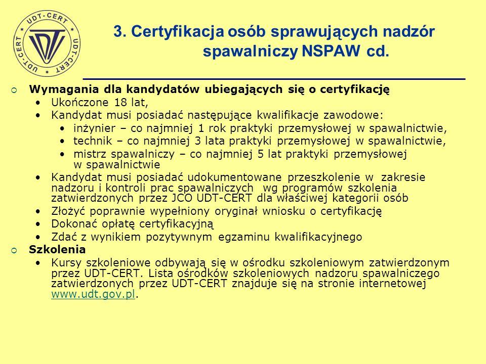 3. Certyfikacja osób sprawujących nadzór spawalniczy NSPAW cd.