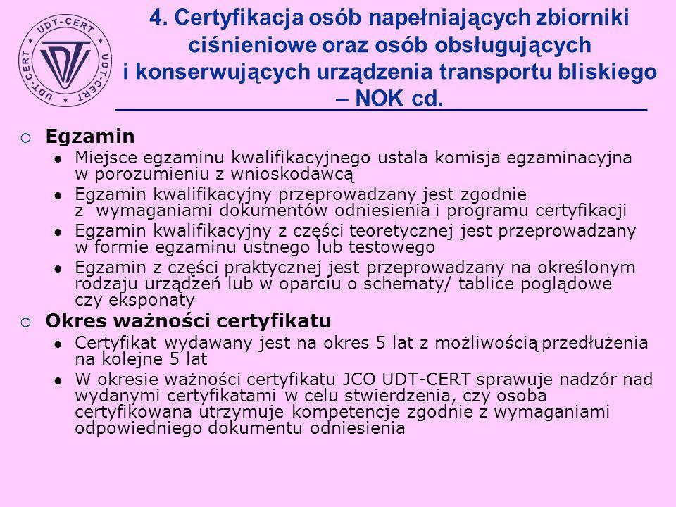 4. Certyfikacja osób napełniających zbiorniki ciśnieniowe oraz osób obsługujących i konserwujących urządzenia transportu bliskiego – NOK cd.