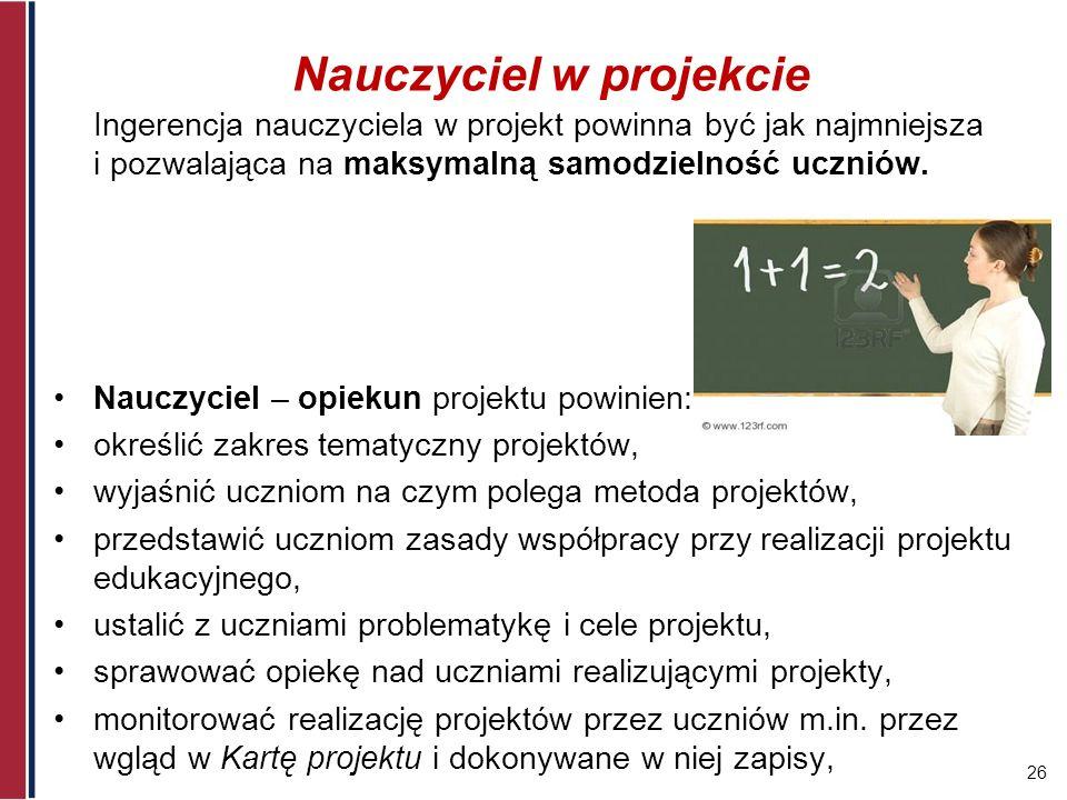 Nauczyciel w projekcie