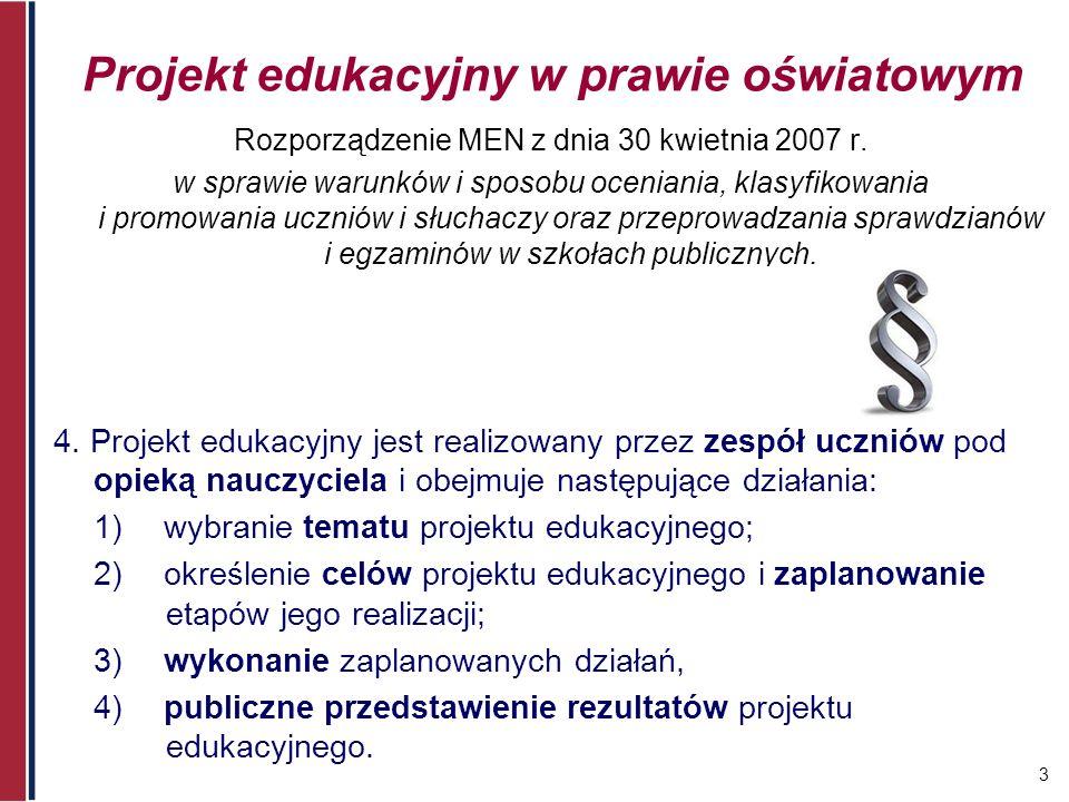 Projekt edukacyjny w prawie oświatowym