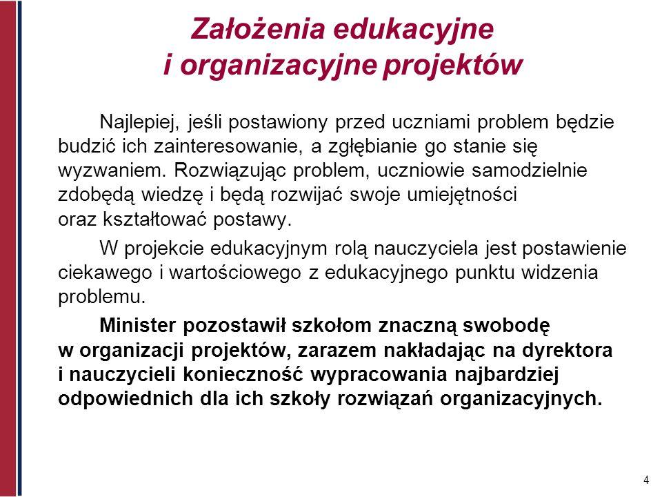 Założenia edukacyjne i organizacyjne projektów