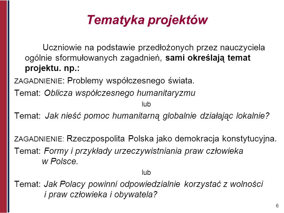 Tematyka projektówUczniowie na podstawie przedłożonych przez nauczyciela ogólnie sformułowanych zagadnień, sami określają temat projektu. np.: