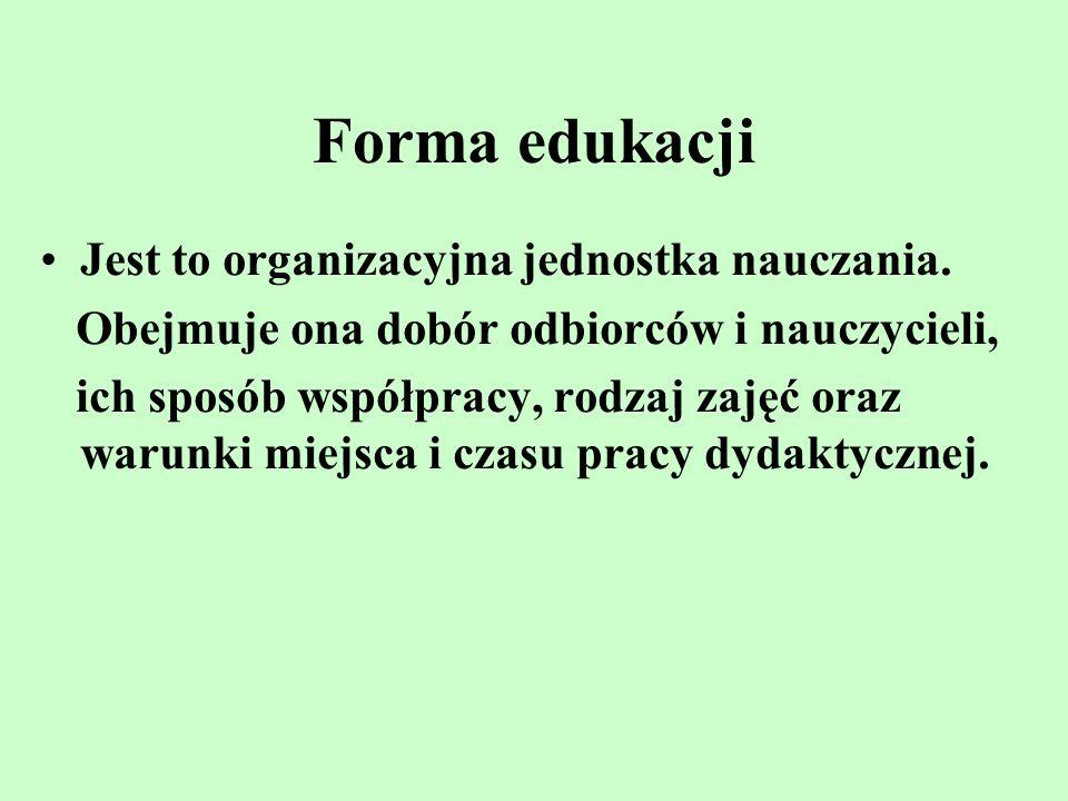 Forma edukacji Jest to organizacyjna jednostka nauczania.