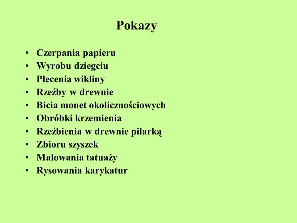 Pokazy Czerpania papieru Wyrobu dziegciu Plecenia wikliny