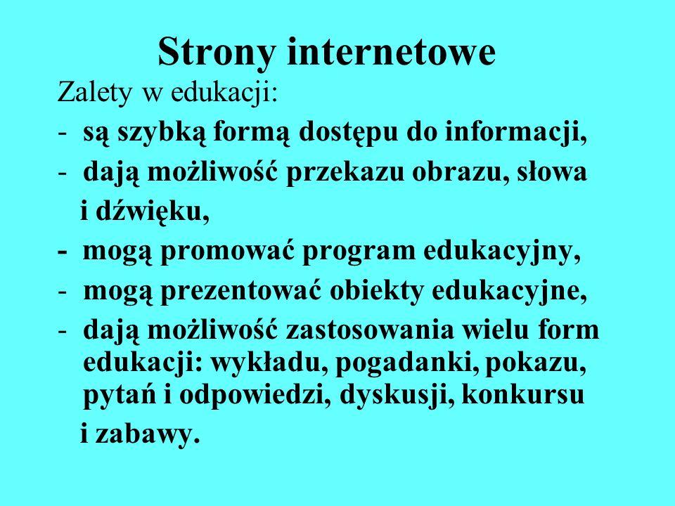 Strony internetowe Zalety w edukacji: