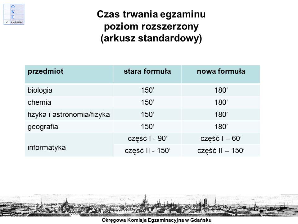Czas trwania egzaminu poziom rozszerzony (arkusz standardowy)