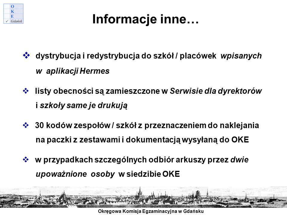 Informacje inne… dystrybucja i redystrybucja do szkół / placówek wpisanych. w aplikacji Hermes.