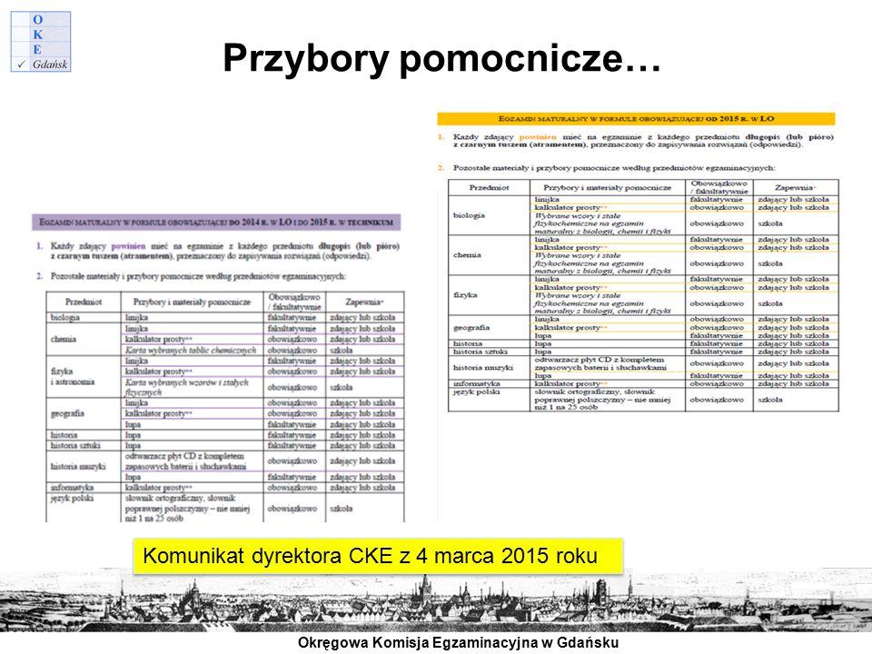 Przybory pomocnicze… Komunikat dyrektora CKE z 4 marca 2015 roku