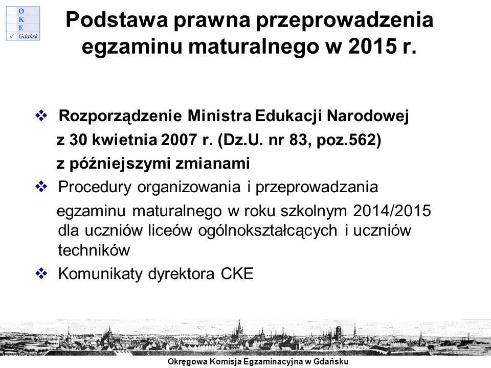 Podstawa prawna przeprowadzenia egzaminu maturalnego w 2015 r.