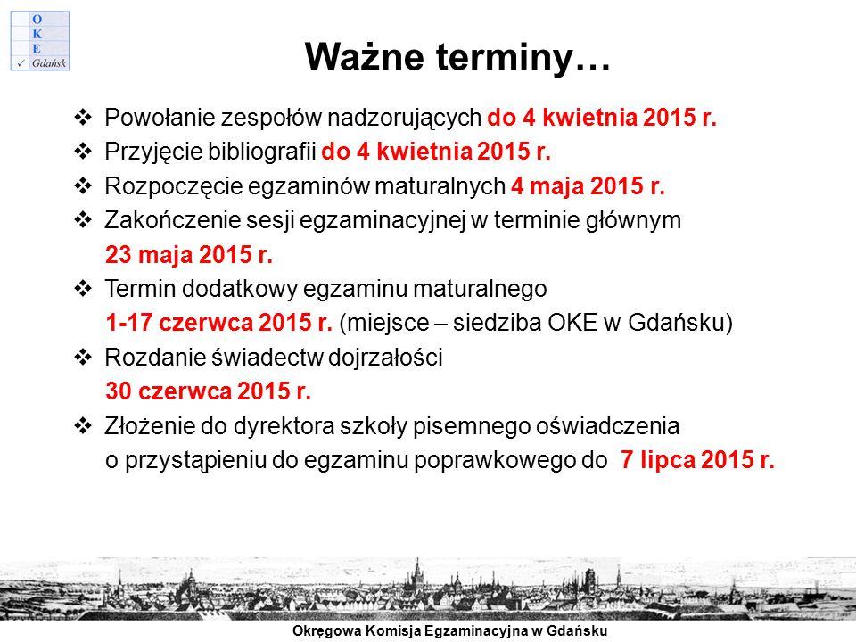 Ważne terminy… Powołanie zespołów nadzorujących do 4 kwietnia 2015 r.