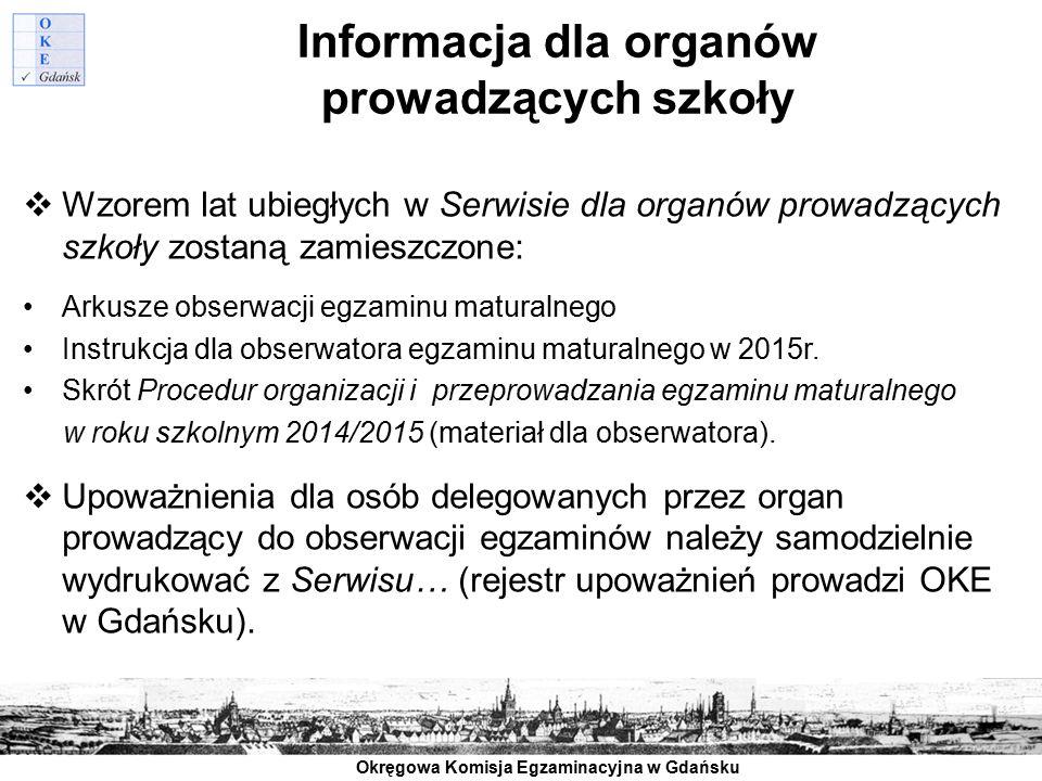 Informacja dla organów prowadzących szkoły