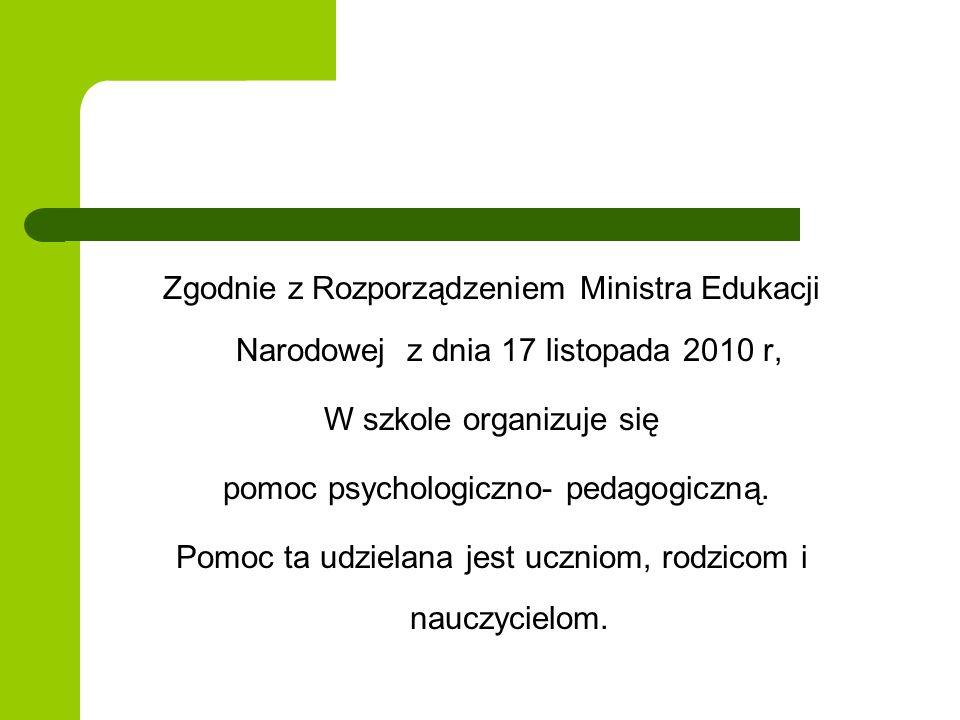 W szkole organizuje się pomoc psychologiczno- pedagogiczną.