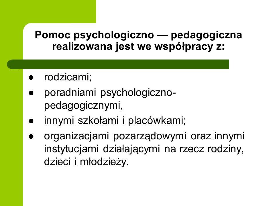 Pomoc psychologiczno — pedagogiczna realizowana jest we współpracy z: