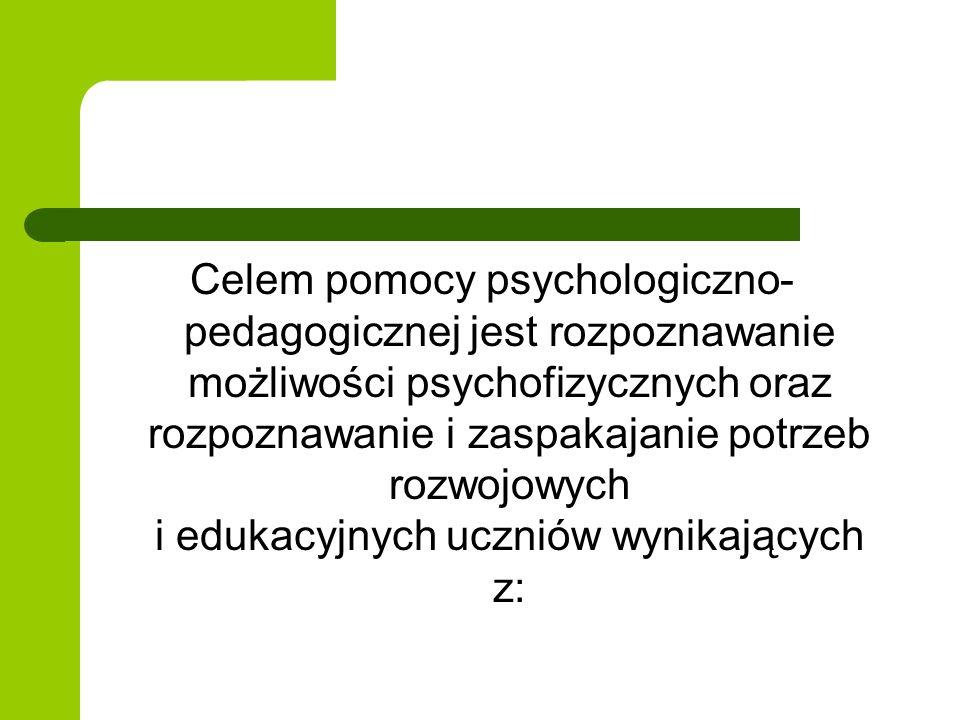 Celem pomocy psychologiczno-pedagogicznej jest rozpoznawanie możliwości psychofizycznych oraz rozpoznawanie i zaspakajanie potrzeb rozwojowych i edukacyjnych uczniów wynikających z: