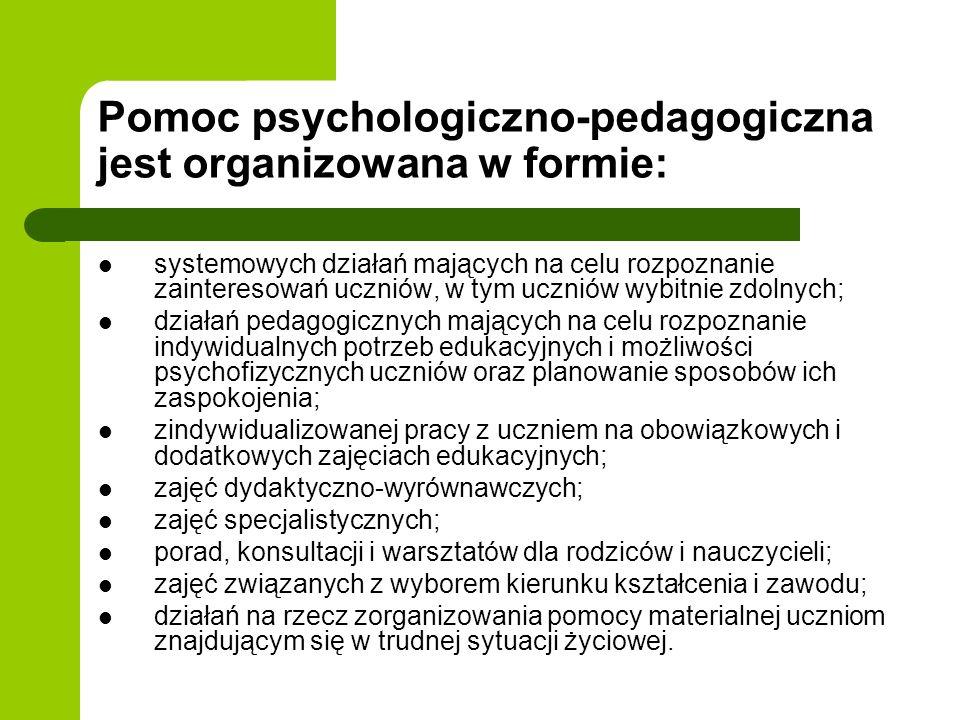 Pomoc psychologiczno-pedagogiczna jest organizowana w formie: