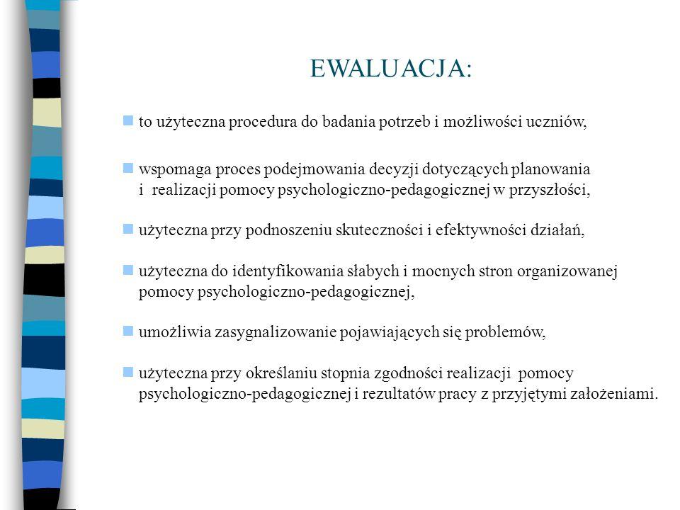 EWALUACJA:  to użyteczna procedura do badania potrzeb i możliwości uczniów,