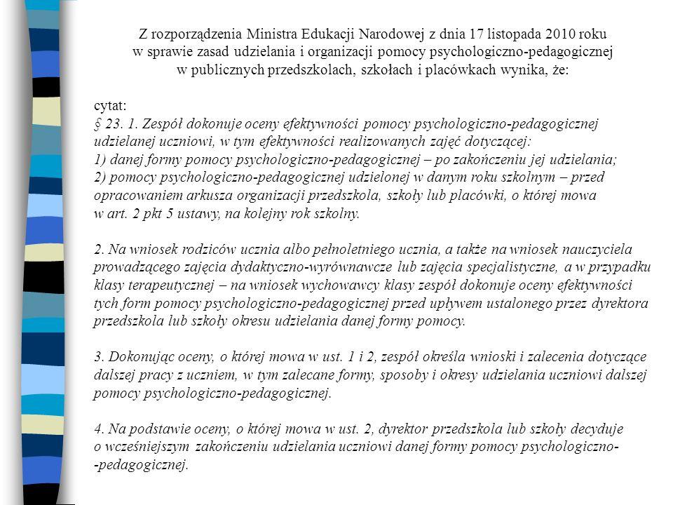 Z rozporządzenia Ministra Edukacji Narodowej z dnia 17 listopada 2010 roku