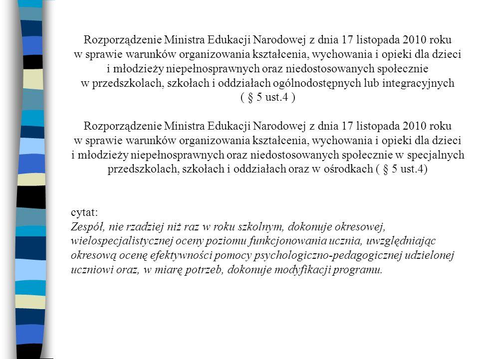 Rozporządzenie Ministra Edukacji Narodowej z dnia 17 listopada 2010 roku
