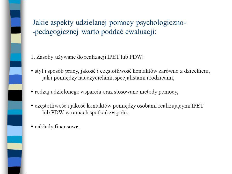 Jakie aspekty udzielanej pomocy psychologiczno- -pedagogicznej warto poddać ewaluacji: