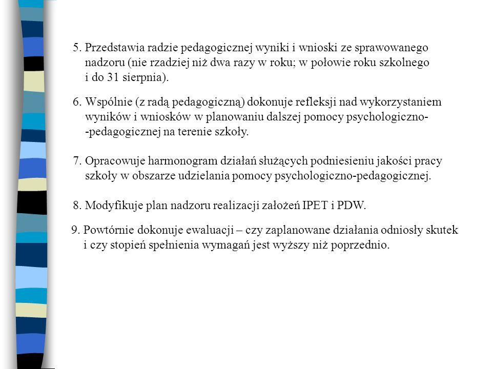 5. Przedstawia radzie pedagogicznej wyniki i wnioski ze sprawowanego