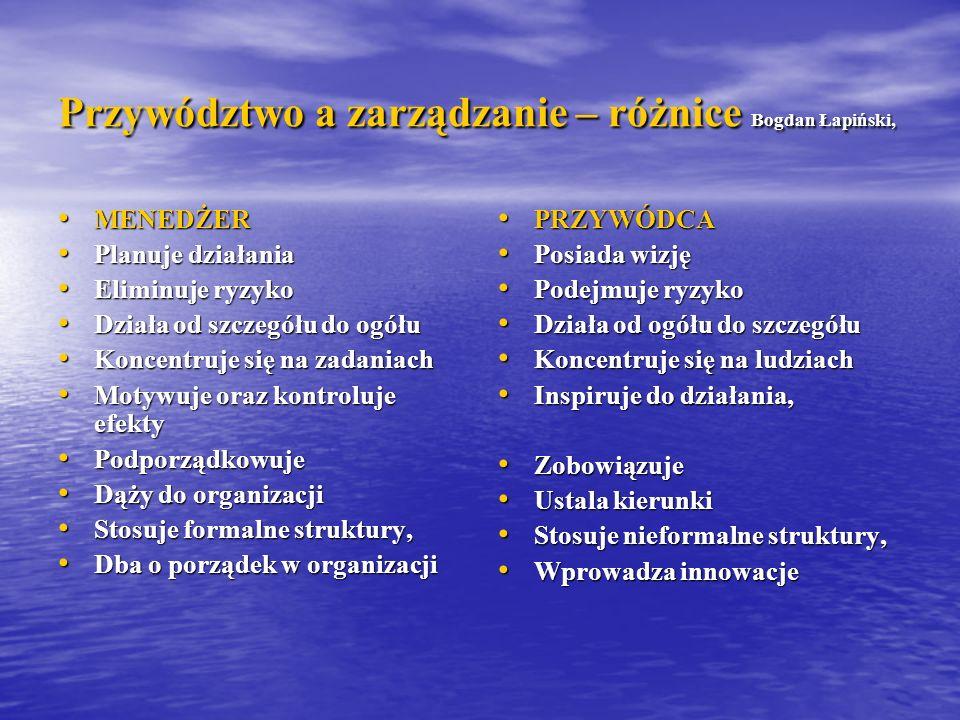 Przywództwo a zarządzanie – różnice Bogdan Łapiński,