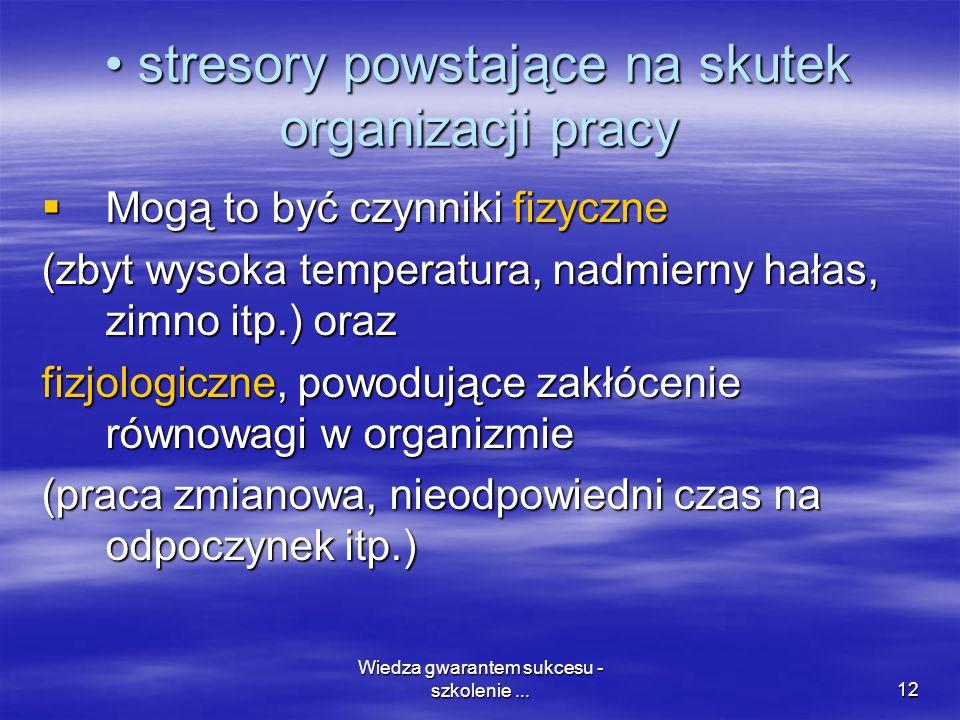 • stresory powstające na skutek organizacji pracy