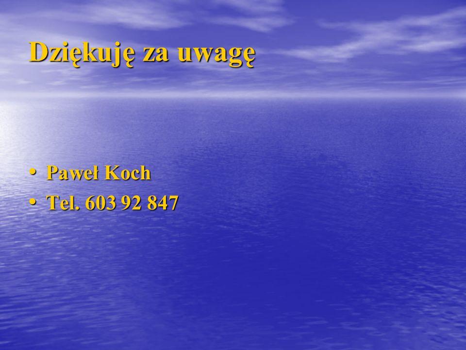 Dziękuję za uwagę Paweł Koch Tel. 603 92 847
