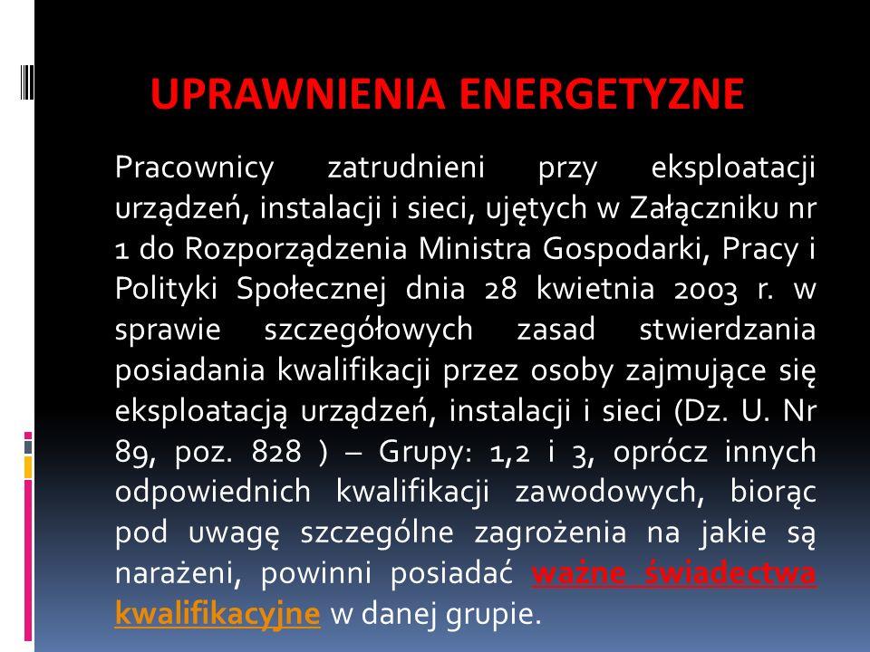 UPRAWNIENIA ENERGETYZNE