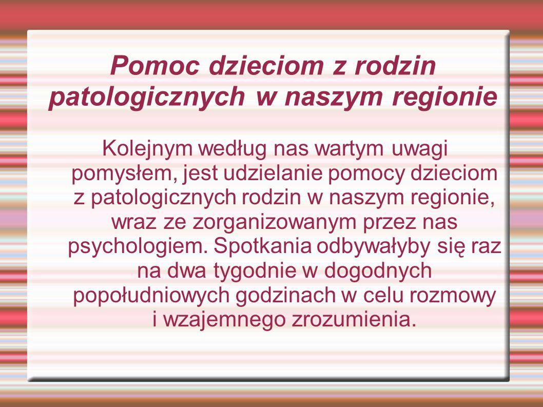 Pomoc dzieciom z rodzin patologicznych w naszym regionie