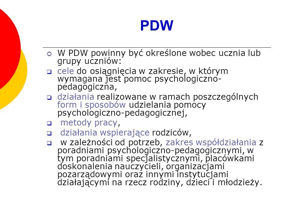 PDW W PDW powinny być określone wobec ucznia lub grupy uczniów: