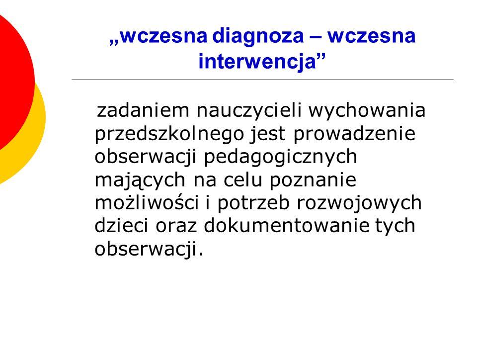 """""""wczesna diagnoza – wczesna interwencja"""