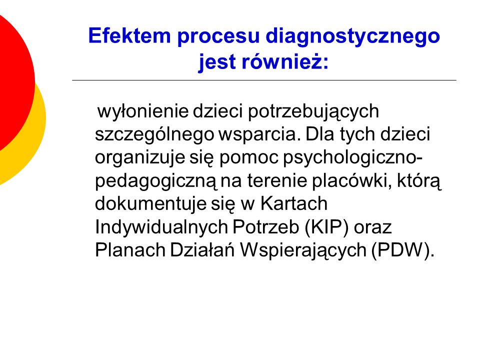 Efektem procesu diagnostycznego jest również: