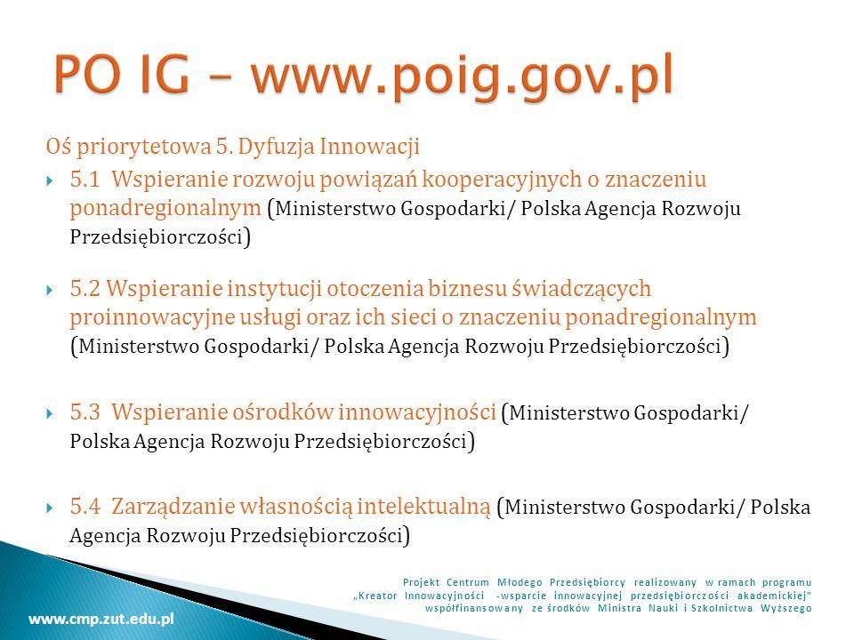 PO IG – www.poig.gov.pl Oś priorytetowa 5. Dyfuzja Innowacji