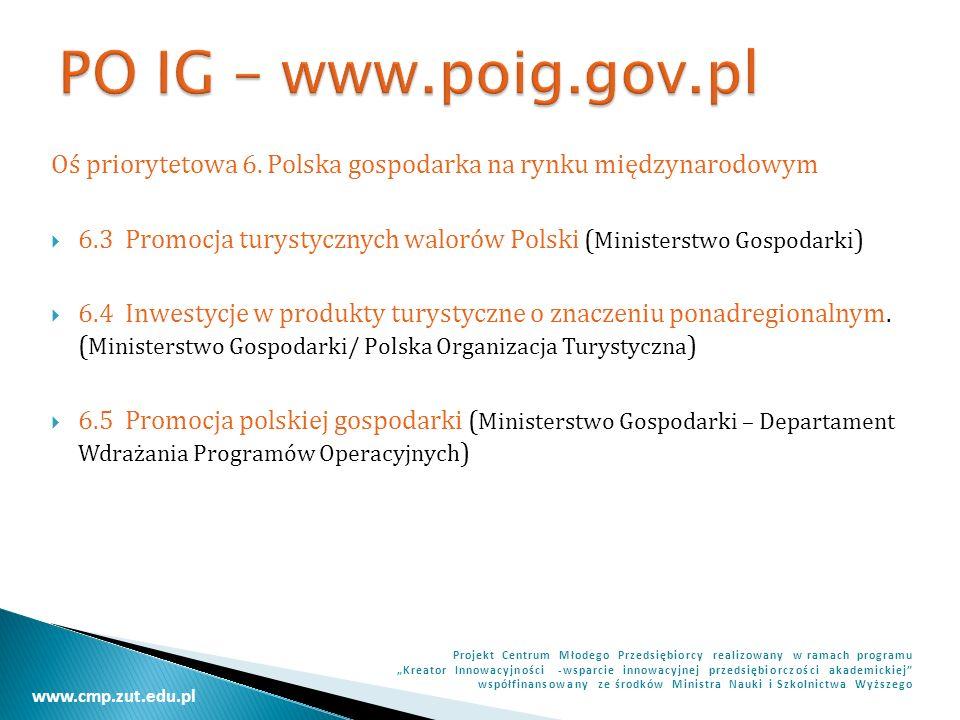 PO IG – www.poig.gov.pl Oś priorytetowa 6. Polska gospodarka na rynku międzynarodowym.