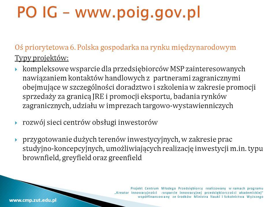 PO IG – www.poig.gov.plOś priorytetowa 6. Polska gospodarka na rynku międzynarodowym. Typy projektów: