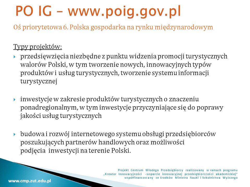 PO IG – www.poig.gov.pl Oś priorytetowa 6. Polska gospodarka na rynku międzynarodowym. Typy projektów: