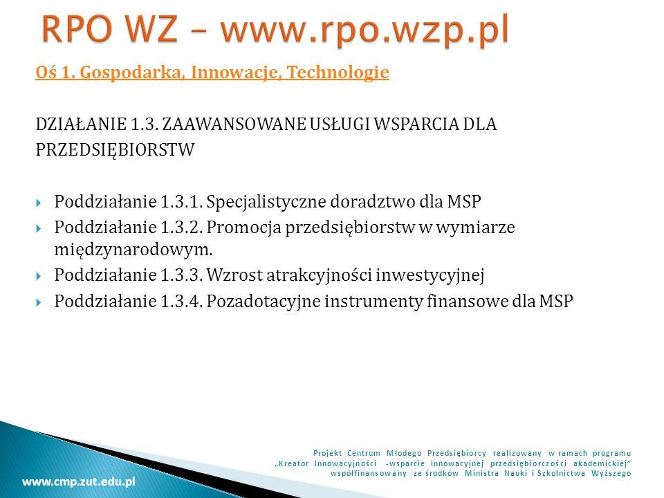 RPO WZ – www.rpo.wzp.pl Oś 1. Gospodarka, Innowacje, Technologie