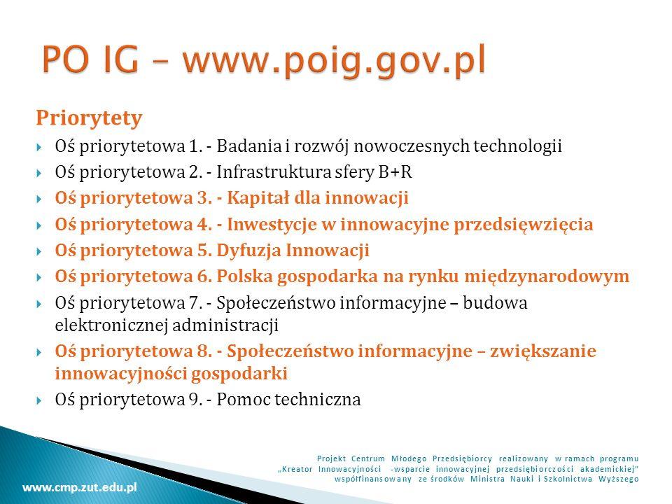 PO IG – www.poig.gov.pl Priorytety