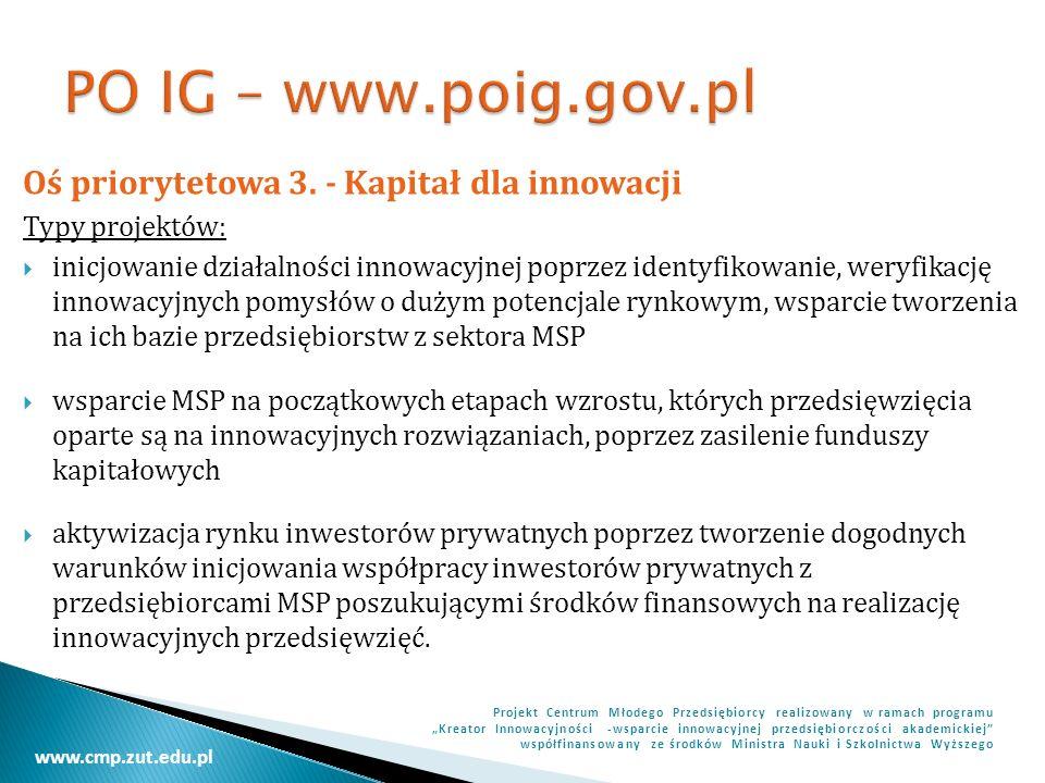 PO IG – www.poig.gov.pl Oś priorytetowa 3. - Kapitał dla innowacji