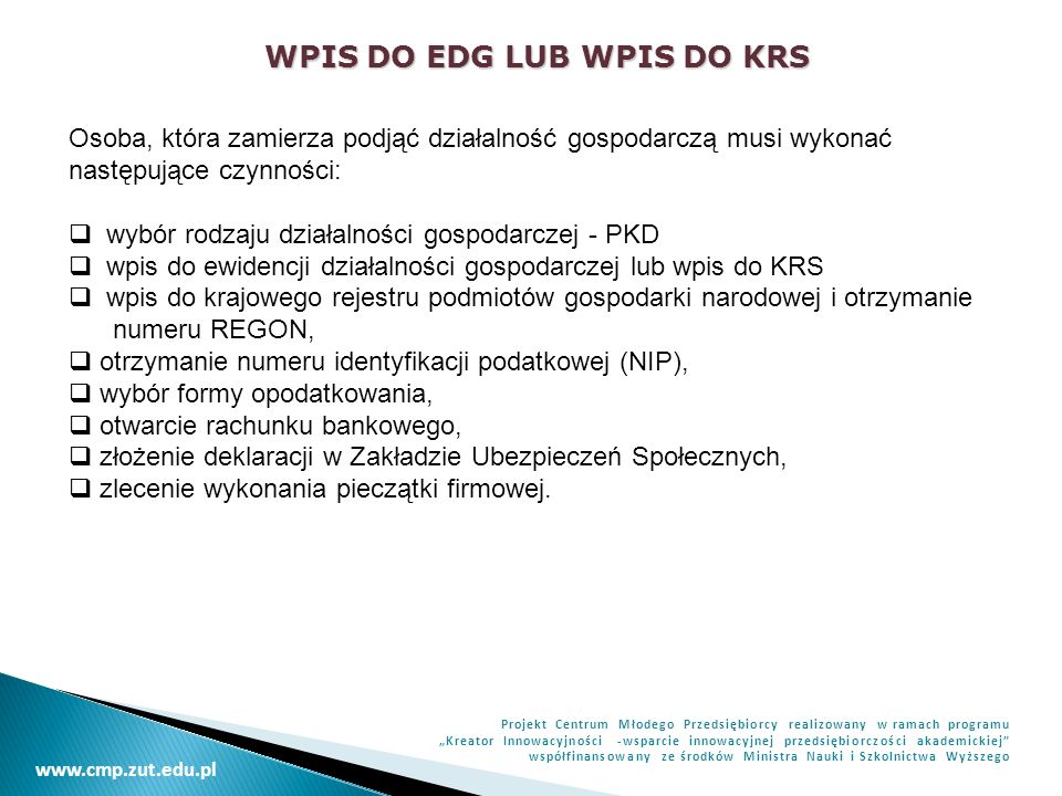 WPIS DO EDG LUB WPIS DO KRS