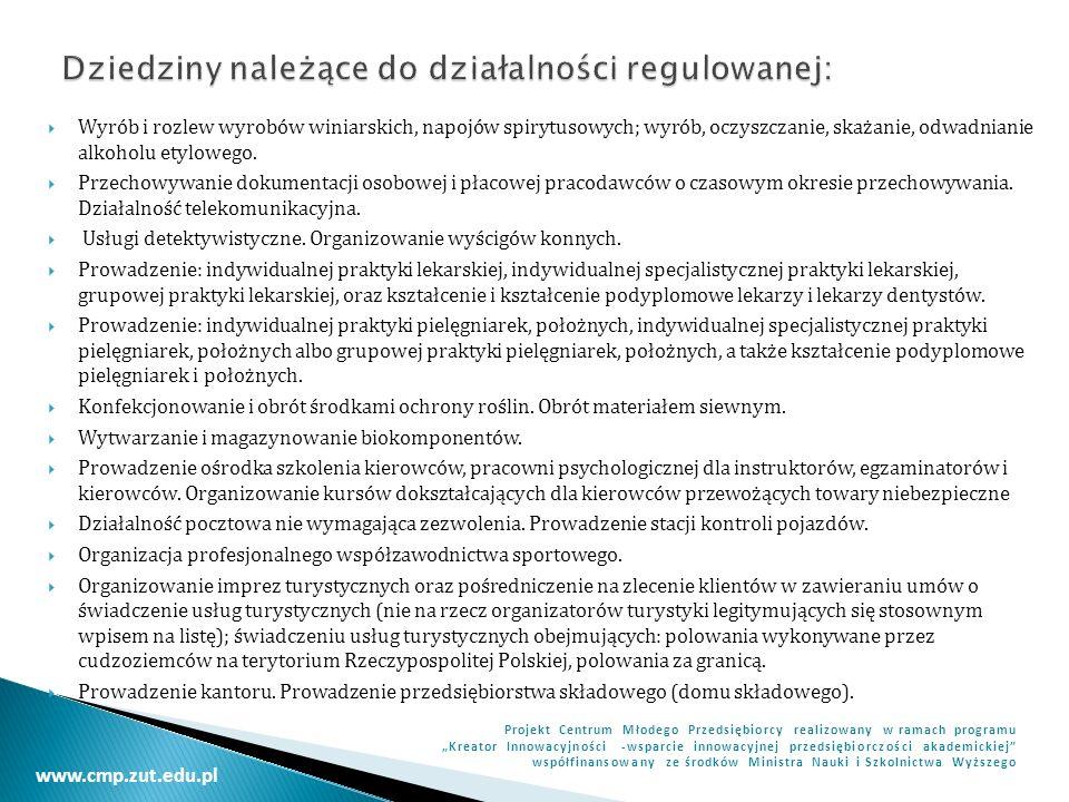 Dziedziny należące do działalności regulowanej: