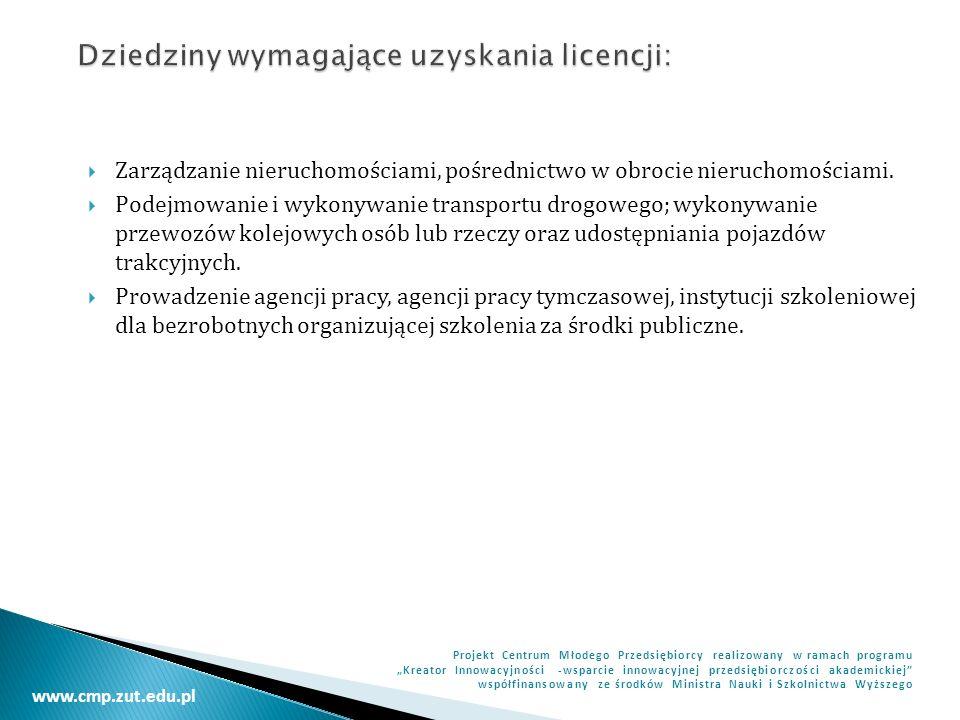 Dziedziny wymagające uzyskania licencji: