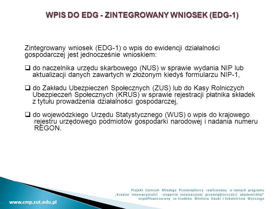 WPIS DO EDG - ZINTEGROWANY WNIOSEK (EDG-1)