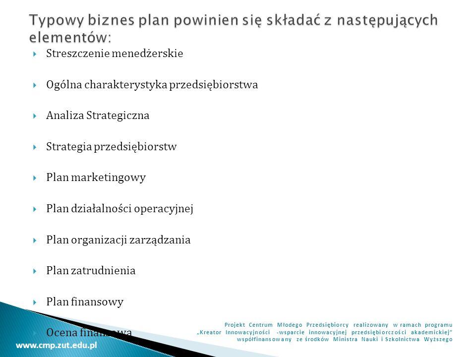 Typowy biznes plan powinien się składać z następujących elementów: