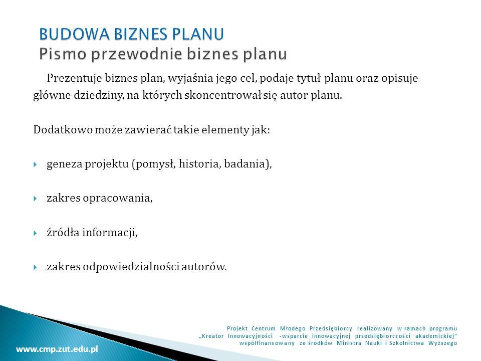 BUDOWA BIZNES PLANU Pismo przewodnie biznes planu
